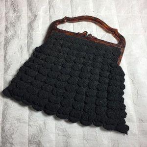 Vintage 40/50s crocheted bag Bakelite handle